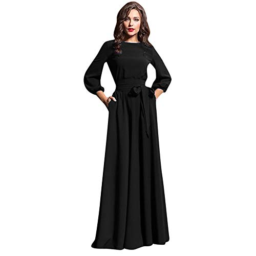 Dicomi Damen Retro Abendkleid Böhmische Laterne Ärmel Cocktail Festliche Kleider Casual Lange Kleider Partykleid Ballkleid Schwarz 3XL
