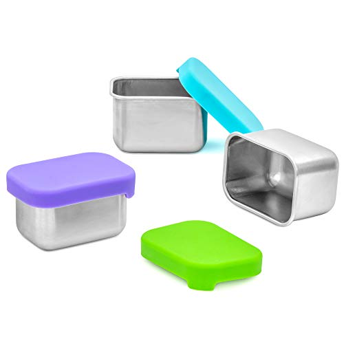 WeeSprout 18/8 Stainless Steel Condiment Containers - Set of 3 Small Dipping Sauce Cups (2.5 oz) with Lids, Pack in Kid/Adult Lunch Box, Leakproof Silicone Lids, Easy to Open, for Dips/Condiments