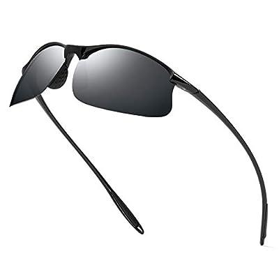 Polarized Sports Sunglasses for Men Women-Driving Cycling Running Fishing Golf TR90 Unbreakable Glasses-Bright Black Frame/Black Lens