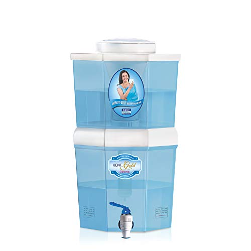 KENT Gold Optima 10 Litres- 4.5 L(Raw Water)+5.5 L(Purified Water) Gravity Based Non-electric Water Purifier (Aqua Blue/White)