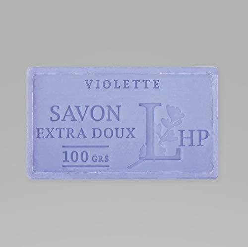 PRODUIT DE PROVENCE - VIOLETTE - SAVON DE MARSEILLE EXTRA DOUX 100 G - DÉLICAT PARFUM NATUREL DE VIOLETTE - GARANTI SANS PARABEN