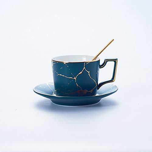 Marmer spel ceramische lepel koffie kopjes thee set 200ml kopje thee Nordic Espresso China uitgebreid mat,1 groene kop