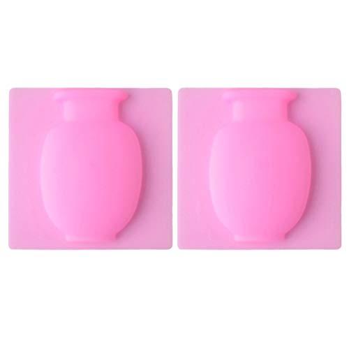 VOSAREA 2 stücke silikon blumenvase saugnapf vase Bohren frei hängende blumentopf Wiederverwendbare waschbar für Wand Windows kühlschrank wohnkultur (rosa)