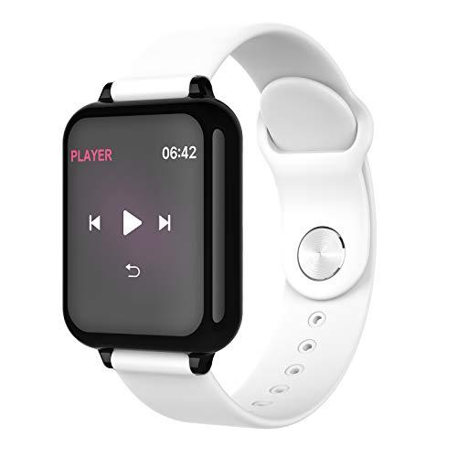 LK-HOME Smartwatch, 1,3-Zoll-Touchscreen-Uhr, 24-Stunden-herzfrequenz- Und Blutdruckmessgerät, Wasserdichter Ip67-fitness-tracker, Schrittzähler, Informations-Push-Funktion,Weiß