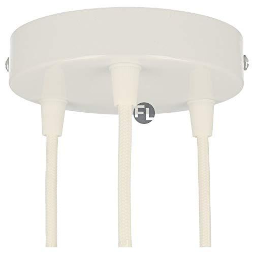 Flairlux Baldachin 3-fach weiß zur Montage von Pendelleuchten | Lampenbaldachin für alle Lampen geeignet | zur Lampenaufhängung an der Decke | Deckenrosette 120x25 mm inkl Klemmnippel