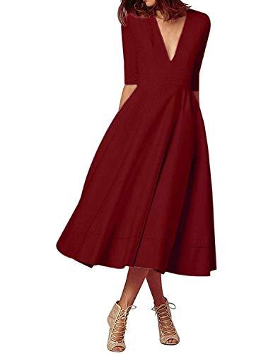 MODETREND Donna Vestiti Lunghi da Matrimonio Autunno Elegante Collo V Vestito A Pieghe Skater Abito Maxi Damigella Sera Cerimonia Inverno (XXL, Rosso Scuro)