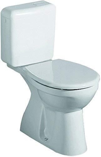 Toilettendeckel / WC – Sitz Renova Nr. 1 | mit Deckel, höhenverstellbare L-Scharniere aus Edelstahl, weiß | Material: Duroplast, Form: weiche Deckelform, Gewicht: 1,8 kg, Breite: 370 mm, Tiefe: 453 mm