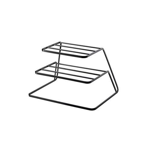 Haushalt Küchenarbeitsplatte Lagerregal Geschirr Lagerung große Kapazität Multifunktionsablauf Rack schwarz YGDH