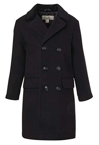 Cremson Boys Classic Wool Look Winter Double Breasted John Dress Coat Jacket Hat - Black (Size 14)