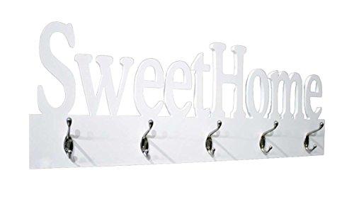 AVANTI TRENDSTORE - Home - Appendiabito da Muro in Legno truciolato Bianco con 5 Ganci in Metallo, con Scritta Sweet Home. Lap ca. 74x28x7 cm