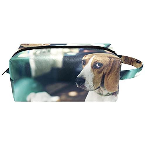 Neceser de Maquillaje Estuche Escolar para Cosméticos Bolsa de Aseo Grande,Perro Cachorro Beagle