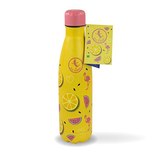Blue Bananas 32070 - 500 ml RVS drinkfles - Stijlvolle drinkfles roestvrij staal vacuüm fles - motief Lemon Fresh (roze)