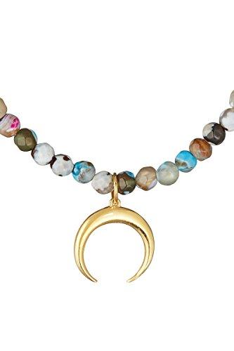 Córdoba Jewels | Gargantilla en Plata de Ley 925 con Piedra semipreciosa con diseño Horn Colors Oro