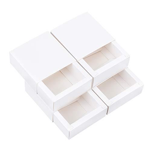 BENECREAT 30 Pack Caja de Cartón Kraft Blanco Caja de Papel en Forma de Cajón 8.5x8.5x3.5cm Cajas de Regalo para Fiesta Superior Envase de Joyería, Dulce, Regalo