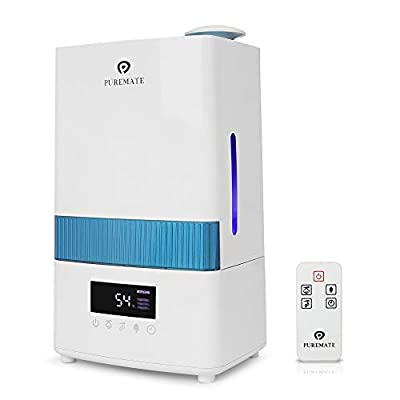 PureMate 4.5L Digital Ultrasonic Cool Mist Humidifier with Ioniser - Built-in Hygrostat sensor automatically maintains Humidity, Aroma Diffuser Tray & Auto Shut-Off with 4.5 Litre Water Tank Capacity