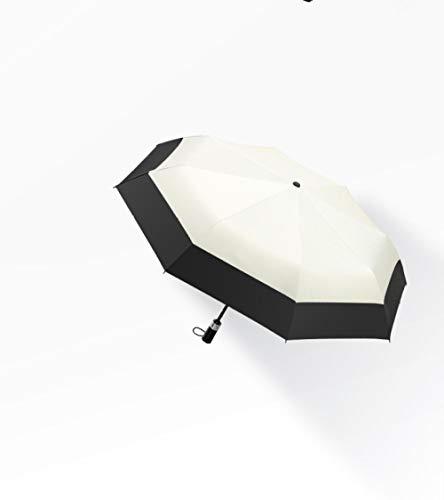 BLACK ELL Compacto Plegable Paraguas de Viaje,Paraguas Plegable - Reforzado,Sombrilla de Doble Uso Totalmente automática, sombrilla Reforzada y Engrosada-Beige_8 Veces compartido