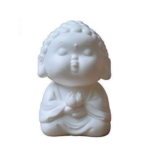 White Ceramic Buddha Figurine Car Ornaments (Ping an)