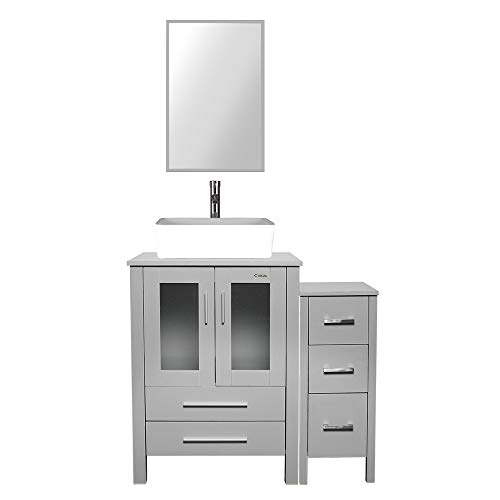 """eclife 36"""" Bathroom Vanity Sink Combo Grey W/Side Cabinet Vanity White Rectangular Ceramic Vessel Sink and Chrome Bathroom Solid Brass Faucet and Pop Up Drain, W/Mirror (T03B02GYB11GY)"""