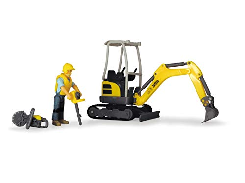 Dickie Toys Playlife-Bagger Set, Bagger Wacker Neuson inkl. Spielfigur, Presslufthammer, Trennsäge, Helm, Weste, 19,5 cm, ab 3 Jahren