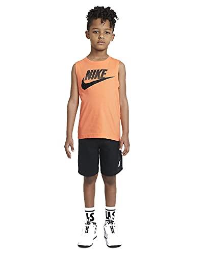 Nike NSW JDI Muscle Tank Short - Conjunto de camiseta y pantalón corto para niño, camiseta naranja y pantalón corto negro, 2-3 años