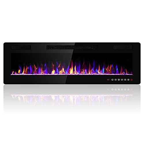 Electactic 60 inches Electric Fireplace Recessed and Wall Mounted Electric Fireplace, Fireplace Heater and Linear Fireplace, with Timer, Remote Control, Adjustable Flame Color, 750w/1500w, Black