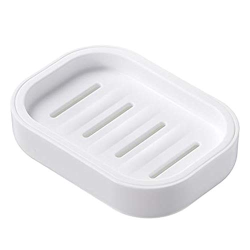 Yilife Plastic Square Soap Dish Bar Soap Holder for Shower Bathroom,Kitchen,Easy Cleaning,White