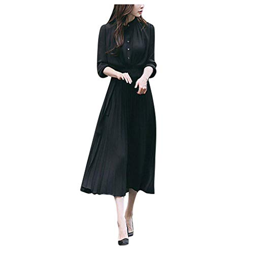 DQANIU Damen Kleid, Damen Casual Solid V-Ausschnitt Knopf Kleid Langarm TräGer Taille Big Swing Plissee Party/Dating/Daily Dress