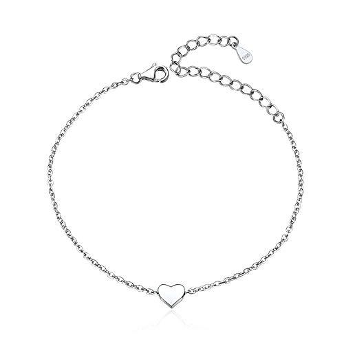 ChicSilver Pulseras Elegantes de Corazón Joyería de Amor Plata de Ley 925 Platino Accesorio Decoración de Muñecas Manos Cadena Extensible Delgada Fina Joyería Bohemia