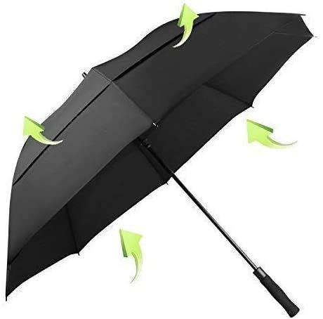 KOLER Golf-Regenschirm, winddicht, 158 cm, übergroß, doppelt belüftet, automatisches Öffnen, wasserdicht und sonnenfest, extra großer Stockschirm – schwarz/belüftet