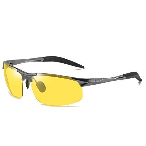 LALB Gafas De Sol, Gafas De Sol Polarizadas para Deportes De Medio Marco De Magnesio De Aluminio para Hombre, Visión Nocturna Día Y Gafas De Sol Polarizadas Nocturnas,E