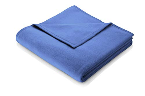 biederlack Kuscheldecke 150x200 cm I Soft Cotton Wohndecke 60% Baumwolle, 40% dralon I Made in Germany, Royal blau