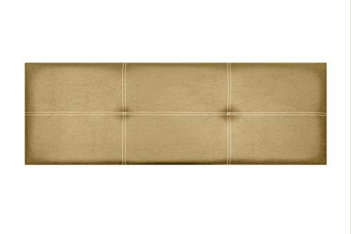 Cabecero de Cama Modelo Paris, en Doble Costura y tapizado en Polipiel Ahazar. Altura 50cm. Pro Elite. Color Oro. para Cama de 210 (Medidas 220x50x5) Pro Elite.
