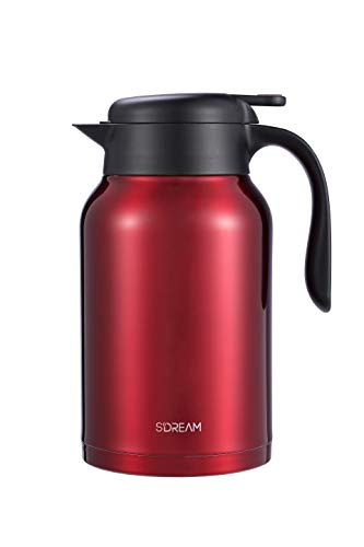 SDREAM 68 Oz Coffee Carafe Thermal Stainless Steel Double Walled Thermal Pots Hot Cold Beverage (Red)