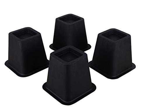ECO-BEST 5-6 Inch Super Strong Bed Riser Furniture Riser and Bed Lifts Great for Under Bed Storage 5.25inch Black-Pack of 4
