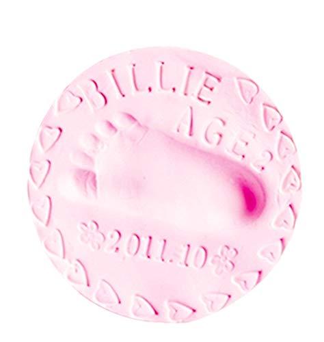 Moulage des mains et des pieds - pochoir - empreintes - pâte à modeler - couleur rose - idée cadeau originale