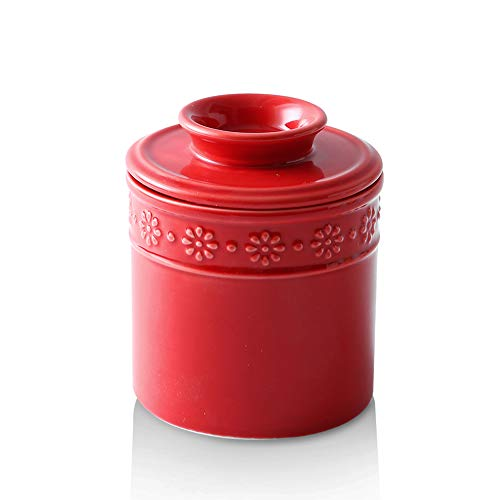 KOOV Ceramic Butter Crock Butter Keeper for Counter Butter Dish Big Capacity Daisy Series Red