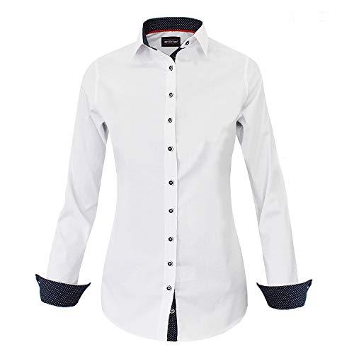 HEVENTON Bluse Damen Langarm in Weiß Hemdbluse - Größe 34 bis 44 - elegant festlich auch für Business 1200 Größe 38