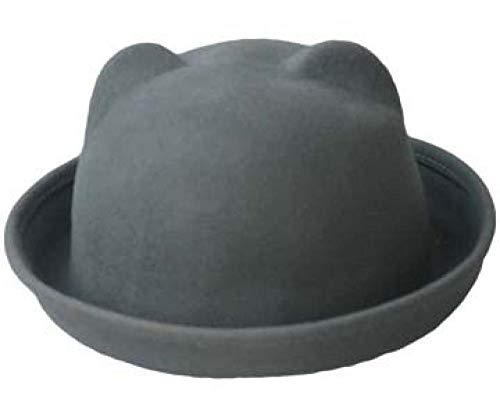 Tony plate Wolle Filz Frauen Baskenmützen Hüte Vintage Lady Bowler Derby Fedora Hut Katzenohr Tier Sonnenkappe Nicht deformiert Gutes Paket-Grau