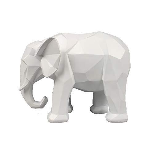 WSJ Statue Garten Ornament Kunsthandwerk Gartenmöbel Dekoration , Elefant Statue Abstrakte Harz Ornamente Weiß Geometrischer Elefant