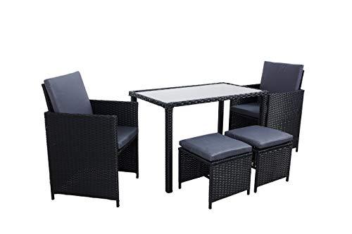 Arebos Poly Rattan 5tlg. Sitzgruppe | Gartenmöbel Set | 2 Stühle 2 Hocker 1 Tisch | Schwarz
