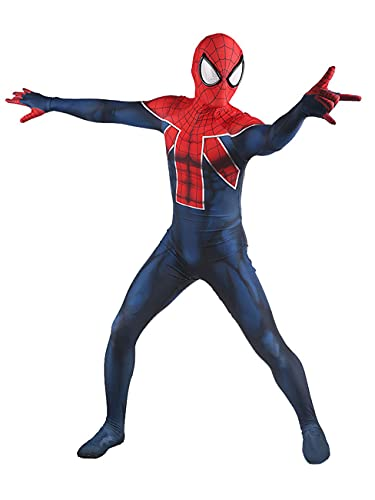 NVHAIM Ultimate Spider-Man Mordy Body, Adultos Niños Spider-Men Cosplay Costume Spandex Halloween Traje, Estéreo 3D Negro Mascarilla,Kids L