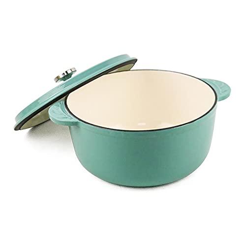 QSJY Cazuela de hierro fundido esmaltada, 2.76 cuartos / 4.65 cuartos de galón (color: verde, tamaño: 10.25 x 10.25 x 4.88 pulgadas)