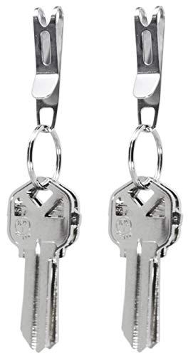 KeySmart Nano Clip - Pocket Clip Key Ring Holder - Secure Your Key Chain, Eliminates Pocket Bulge (Stainless Steel, 2 pack)