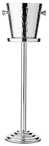 Edzard Secchiello per Spumante, Secchiello refrigerante Bottiglie, Secchiello Vino Capri Incluso Supporto, Acciaio, martellato, Altezza Totale 85 cm, Altezza del Secchiello 23 cm