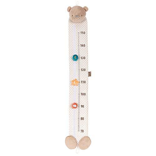 Nattou Toise Ours Basile de 70 à 150 cm, Mia et Basile, 117 x 20 x 2 cm, Brun/Blanc à pois