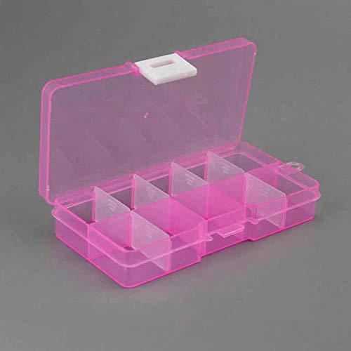 IAMZHLPráctica Caja de Almacenamiento de plástico Ajustable con 10 Compartimentos, Pendientes de joyería, Caja de Almacenamiento con Pantalla de Cuentas - S, 01, China