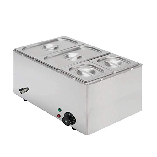 Brand New Commercial Stainless Steel Electric Bain Marie With 4 Pans & Lids *Free Face Protection*