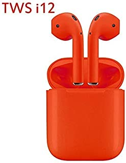Original I12 TWS 5.0 Bluetooth Earphone Sweatproof Sports Headphone Touch Portable Wireless Earbuds (Red)