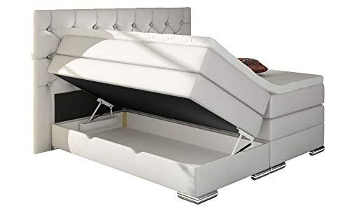 HG Royal Estates GmbH Mailand Chesterfield Boxspringbett mit Bettkasten Weiß Kunstleder Größe 180 x 200 cm