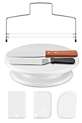 Puroma 11 Inch Rotating Cake Turntable with 3Pcs Comb Icing Smoother, Straight & Offset Spatula and Cake Leveler for Cake Decorations, Pastries and Cupcakes